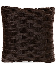 "Ruched 20"" Square Faux-Fur Decorative Pillow"