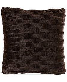 "Madison Park Ruched 20"" Square Faux-Fur Decorative Pillow"