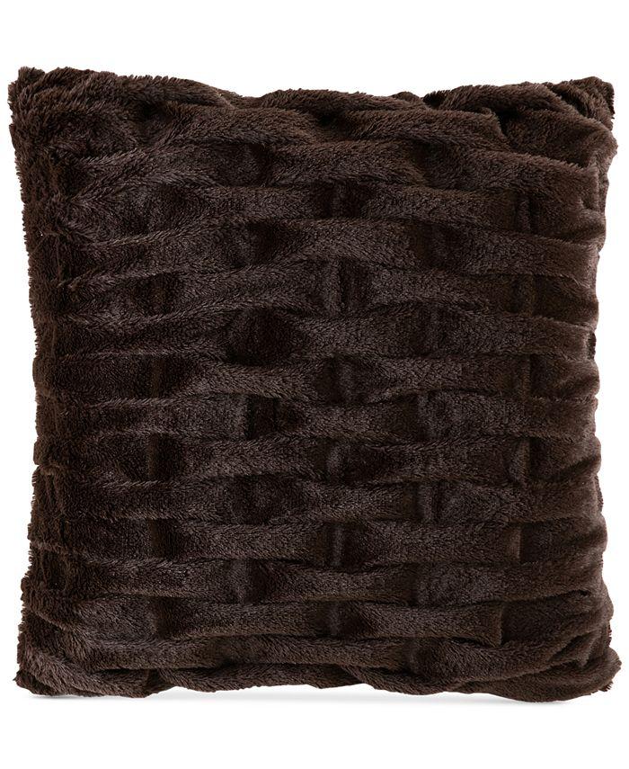 """Madison Park - Ruched 20"""" Square Faux-Fur Decorative Pillow"""