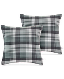 "Woolrich Tasha Reversible Plaid Softspun to Berber 18"" Square Pair of Decorative Pillows"