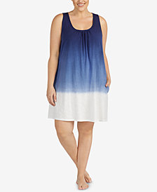 Lauren Ralph Lauren Plus Size Tie-Dye Sleeveless Nightgown