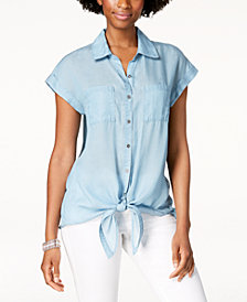 Style & Co Front-Tie Shirt, Created for Macy's