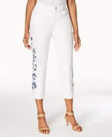 Style & Co Embroidered Cropped Boyfriend Jeans, Created for Macy's