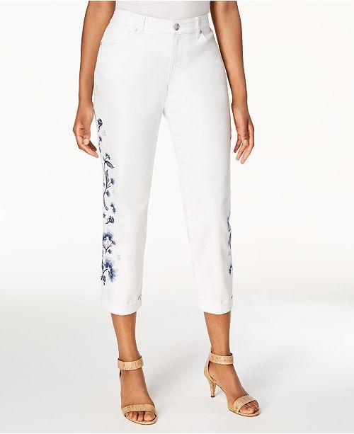5e52de8f8ad Style   Co. Embroidered Cropped Boyfriend Jeans