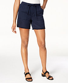 Style & Co Frayed-Hem Pull-On Shorts, Created for Macy's