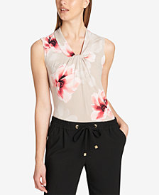 Calvin Klein Twisted Floral-Print Top