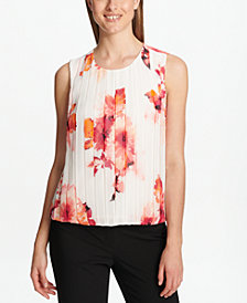 Calvin Klein Floral-Print Pleated Bubble Shell