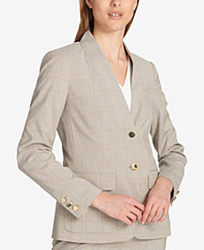 Calvin Klein Two-Button Plaid Blazer
