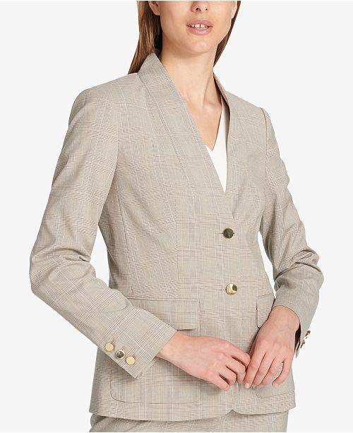 78790e2ca3261 Calvin Klein Two-Button Plaid Blazer - Jackets - Women - Macy s
