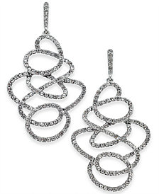 I.N.C. Silver-Tone Pavé Scribble Drop Earrings, Created for Macy's
