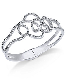 I.N.C. Silver-Tone Pavé Tangle Bangle Bracelet, Created for Macy's