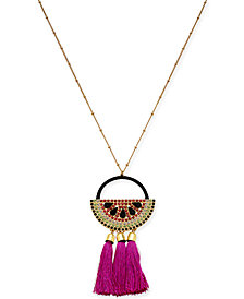 "I.N.C. Gold-Tone Multi-Pavé & Stone Watermelon Tassel Pendant Necklace, 30"" + 3"" extender, Created for Macy's"