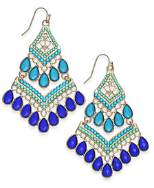 I.N.C. Gold-Tone Stone & Bead Drop Earrings, Created for Macy's