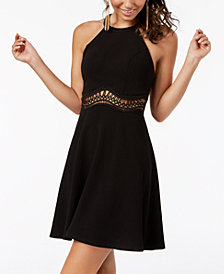 Sequin Hearts Juniors' Illusion-Waist Halter Dress