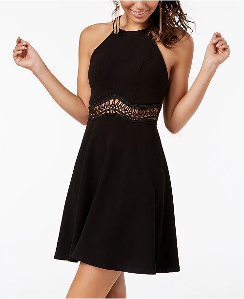 96b1422305db ... Halter Dress; Sequin Hearts Juniors' Illusion-Waist Halter ...