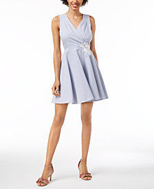 Maison Jules Seersucker Fit & Flare Dress, Created for Macy's