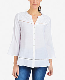 NY Collection Lace-Yoke Ladder-Trim Shirt