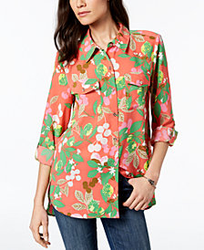 Tommy Hilfiger Printed Roll-Tab Shirt, Created for Macy's