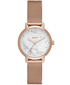 DKNY Women's Modernist Rose Gold-Tone Stainless-Steel Mesh Bracelet Watch 32mm, Created for Macy's