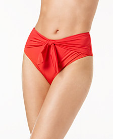 Trina Turk Getaway Solids Tie-Front High-Waist Bikini Bottoms