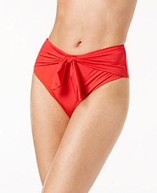 Trina Turk Getaway Solids Tie-Front High-Waist Bikini Bottoms