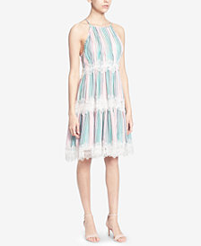 Catherine Catherine Malandrino Striped Lace-Trim Halter Dress
