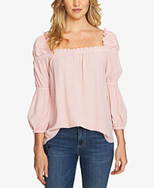 CeCe Ruffled Square-Neck Top