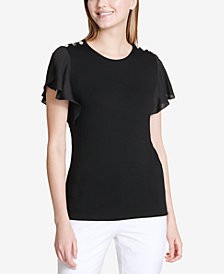 Calvin Klein Flutter-Sleeve Button-Shoulder Top