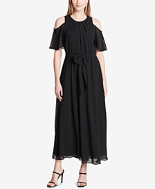 Calvin Klein Cold-Shoulder Belted Maxi Dress