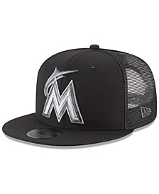 New Era Miami Marlins Blackout Mesh 9FIFTY Snapback Cap
