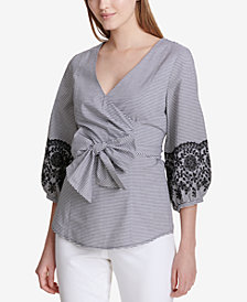 Calvin Klein Embroidered Wrap Top