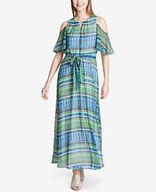 Calvin Klein Printed Cold-Shoulder Maxi Dress