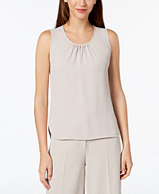 Anne Klein Shirred-Neck Tank Blouse