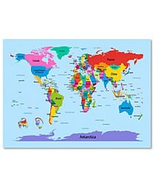 "Michael Tompsett 'Childrens World Map' Canvas Art - 47"" x 30"""