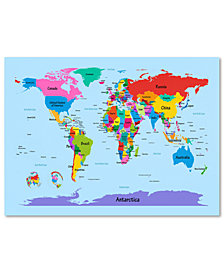 "Michael Tompsett 'Children's World Map' 30"" x 47"" Canvas Art Print"