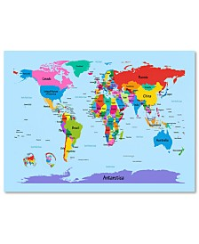 "Michael Tompsett 'Childrens World Map' Canvas Art - 47"" x 30"""