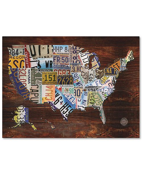 """Trademark Global Masters Fine Art 'USA License Plate Map on Wood' Canvas Art - 24"""" x 32"""""""