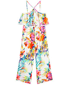 Pink & Violet Big Girls Tropical-Print Halter Jumpsuit