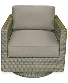 North Port Wicker Outdoor Swivel Club Chair with Custom Sunbrella® Cushion, Created for Macy's