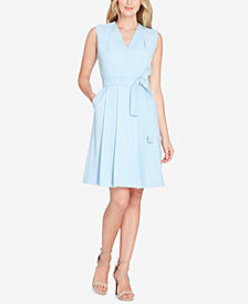 Tahari ASL Belted Faux-Wrap Dress