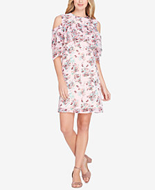 Tahari ASL Floral Printed Cold-Shoulder Ruffle Dress