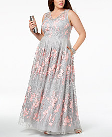 Adrianna Papell Plus Size V-Neck Embroidered Gown
