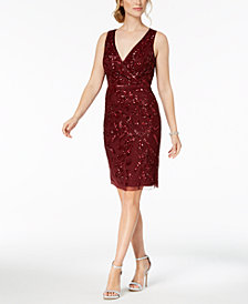 Adrianna Papell V-Neck Sequined Dress