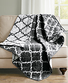 "Madison Park Essentials Merritt Oversized Reversible 60"" x 70"" Quilted Ogee-Print Throw"