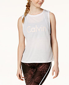 Calvin Klein Performance Racing-Stripe Cropped Tank Top
