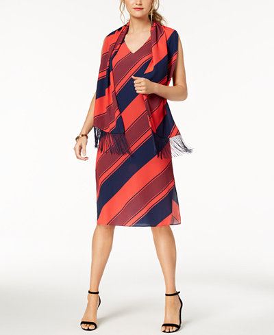 Donna Ricco Striped Shift Dress & Scarf