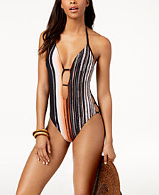 Kenneth Cole City Silhouette Printed Plunging Halter Tummy-Control One-Piece Swimsuit