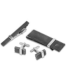 Men's Two-Tone 3-Pc. Set Tie Clip, Cuff Links & Money Clip in Stainless Steel & Black Rhodium-Plate