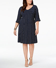 Connected Plus Size Bell-Sleeve Polka Dot Dress