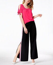 I.N.C. Cold-Shoulder Top & Vented Wide-Leg Pants, Created for Macy's